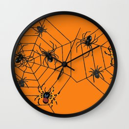 big Spiders in two cobweb Wall Clock