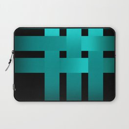 Abstraction .Weave turquoise satin ribbons . Patchwork . Laptop Sleeve