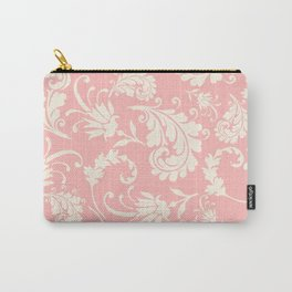 Vintage pink ivory chic floral damask pattern Carry-All Pouch