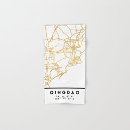 QINGDAO CHINA CITY STREET MAP ART Hand & Bath Towel