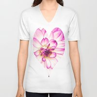 dahlia V-neck T-shirts featuring dahlia by Karl-Heinz Lüpke