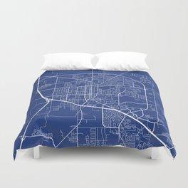 Denton Map, USA - Blue Duvet Cover