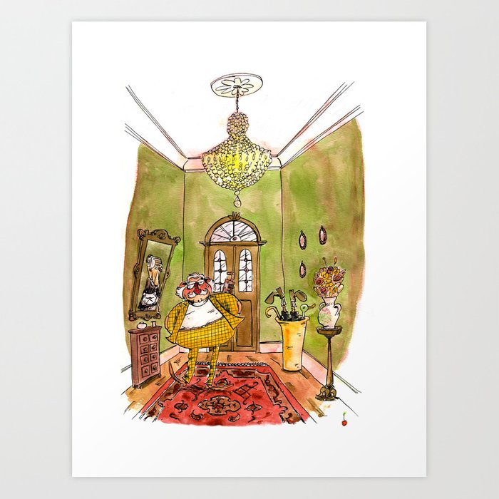 Colonel Mustard, with the spanner, in the hall Art Print