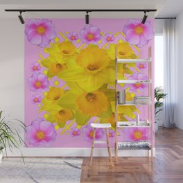 Yellow Daffodils & Pink Roses Abstract Wall Mural