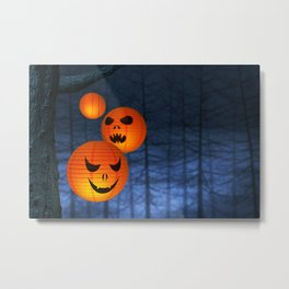 Halloween paper lanterns in a dark and spooky forest Metal Print