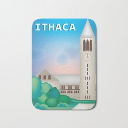 Ithaca, New York - Skyline Illustration by Loose Petals Bath Mat