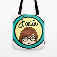 daria Tote Bags featuring Daria by Emmanuella Draws