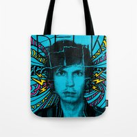 cassia beck Tote Bags featuring Beck Hell Yes by Matt Cave