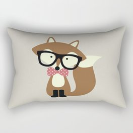 Glasses and Bow Tie Hipster Brown Fox Rectangular Pillow