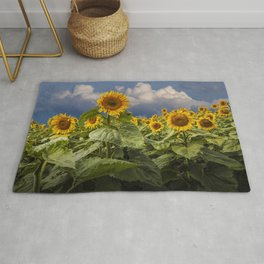 Blooming Sunflowers against a Cloudy Blue Sky Rug