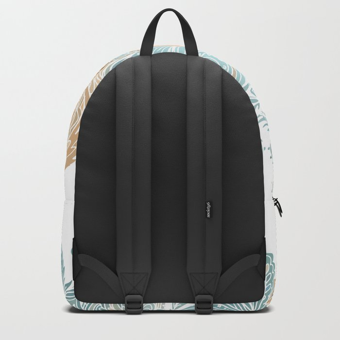 Light Blue Floral Indian Pattern Backpack