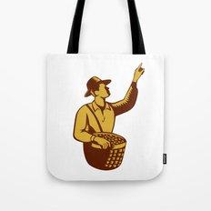 Fruit Picker Worker Pointing Woodcut Tote Bag