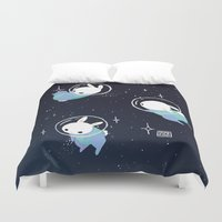 bunnies Duvet Covers featuring Space Bunnies by Maike Vierkant