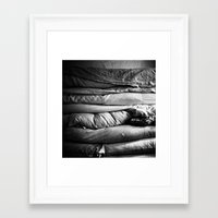 bed Framed Art Prints featuring bed by Dasha