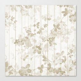 Rustic vintage white wood bohemian brown floral Canvas Print