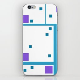 Violet Rectangle with turquoise Lines iPhone Skin