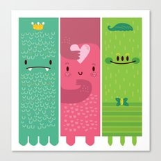 Three little monsters Canvas Print