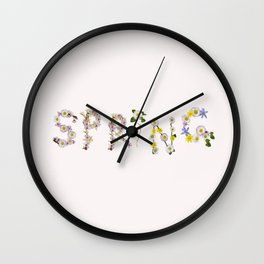 SPRING - Flower Typography Wall Clock