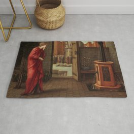 "Edward Burne-Jones ""Danaë Watching the Building of the Brazen Tower"" Rug"