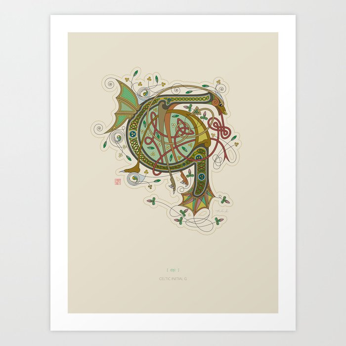 Celtic Initial G Art Print