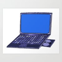 laptop Art Prints featuring  Laptop  by Sofia Youshi