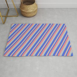 Light Coral, Grey, and Royal Blue Colored Striped/Lined Pattern Rug