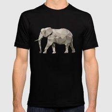 Geometric Elephant MEDIUM Black Mens Fitted Tee