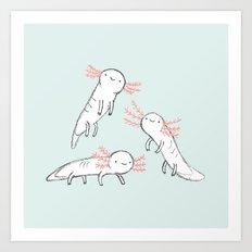 Three Little Axolotls Art Print