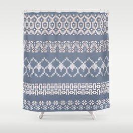 Scandi Knit Ornaments pattern 1 Shower Curtain