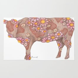Chocolate and Strawberry Milk Cow Rug