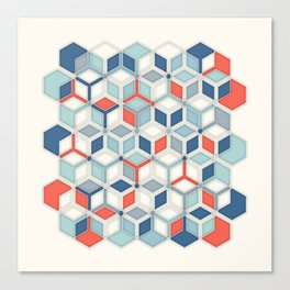 Soft Red, White & Blue Hexagon Pattern Play Canvas Print