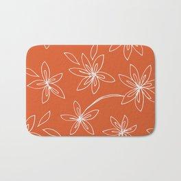 Flower Drawing on Orange Bath Mat