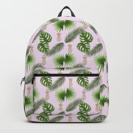 Chic Tropical Leaves and Gold Pineapples Pattern Backpack