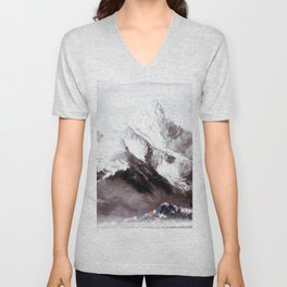 Panoramic View Of Everest Mountain Painting Unisex V-Neck