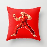 street fighter Throw Pillows featuring Street Fighter II - Ken by Carlo Spaziani