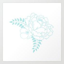 Light blue peony Art Print
