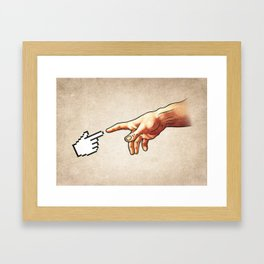 Funny 8bit Nerd & Geek Humor (Creation of Adam Parody) Framed Art Print