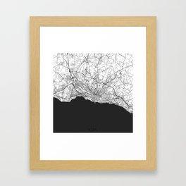 Lausanne Map Gray Framed Art Print