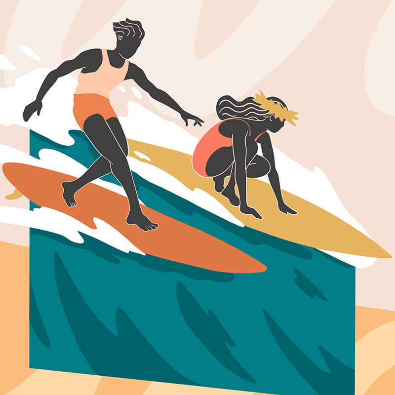 illustration of a man and woman surfing
