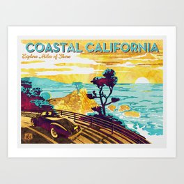 Coastal California vintage poster design watercolor painted on canvas Art Print