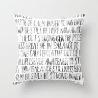 namaste Throw Pillows featuring Namaste by PieTowel