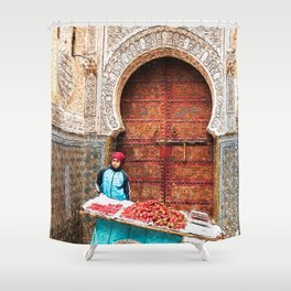 Strawberries in the Medina, Morocco Oil Paint Shower Curtain