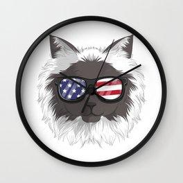 Patriotic Himalayan Cat Kitty Merica American Flag Wall Clock