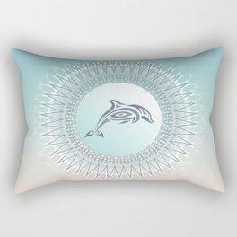 Dolphin Mandala Beach Style Rectangular Pillow