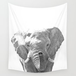 Black and white elephant illustration Wall Tapestry
