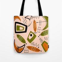 mid century modern Tote Bags featuring Atomic Mid-Century Modern 2 by Kippygirl