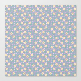 Yellow Flower Pattern with Purple Ornamental Background Canvas Print