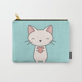 Kawaii Cute Cat With Heart Carry-All Pouch
