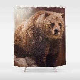 Great Strength - Grizzly Bear Art Shower Curtain