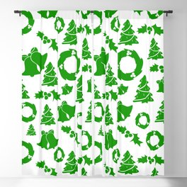 Christmas in White & Green Blackout Curtain